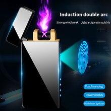 À prova de vento duplo arco isqueiro plasma flameless recarregável elétrica isqueiro display led energia hqd cigarro descartável