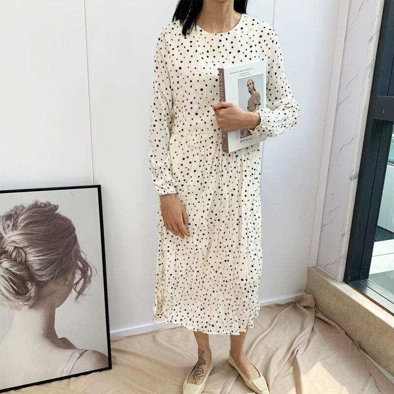 2020 весеннее плиссированное платье в горошек корейское женское черно-белое платье с длинным рукавом на молнии сзади