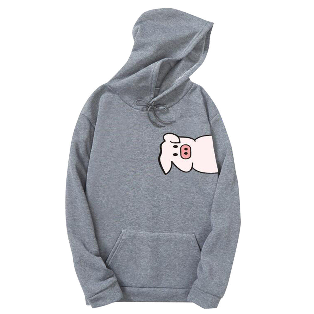 Womens Autumn Long Sleeve Hoodie Sweatshirt Letters Hooded Pullover Tops Blouse Cute Pig Head Cosas Kawaii Clothes