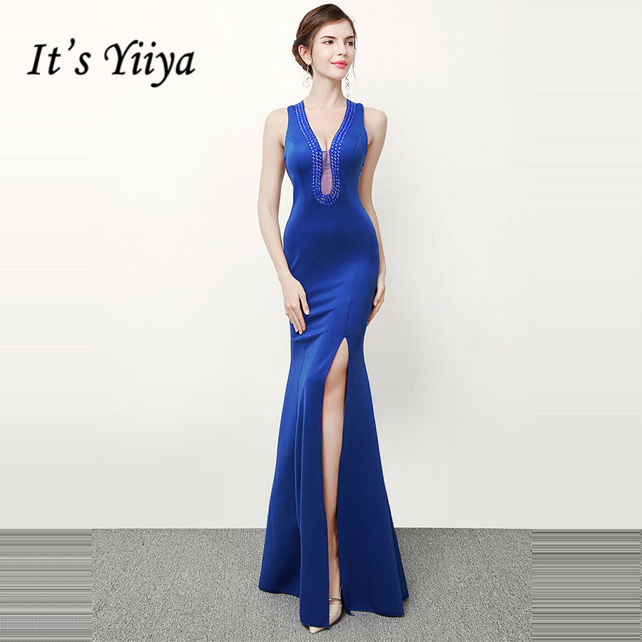 V-Neck Abendkleider It's Yiiya DX308 Sleeveless Mermaid Evening Dresses Crystal Split Zipper Plus Size Special Occasion Dress