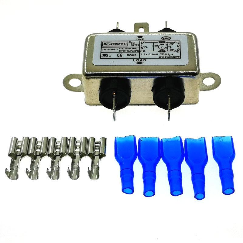 1 шт. EMI фильтр CW1B-10A-T 10A 115V 250V CW1B 50/60HZ