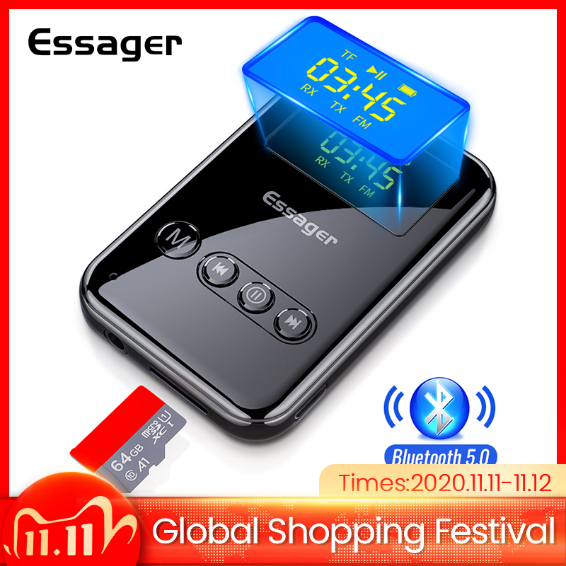 Essager Bluetooth 5 0 Transmitter Receiver 3 5mm Jack Aux Audio Wireless Adapter For PC TV Headphone Car Bluetooth 5 0 Receiver