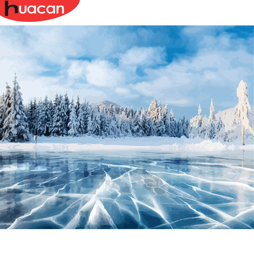 HUACAN Painting By Number Winter Scenery Kits Drawing Canvas HandPainted Home Decor DIY Oil Pictures By Numbers Landscape