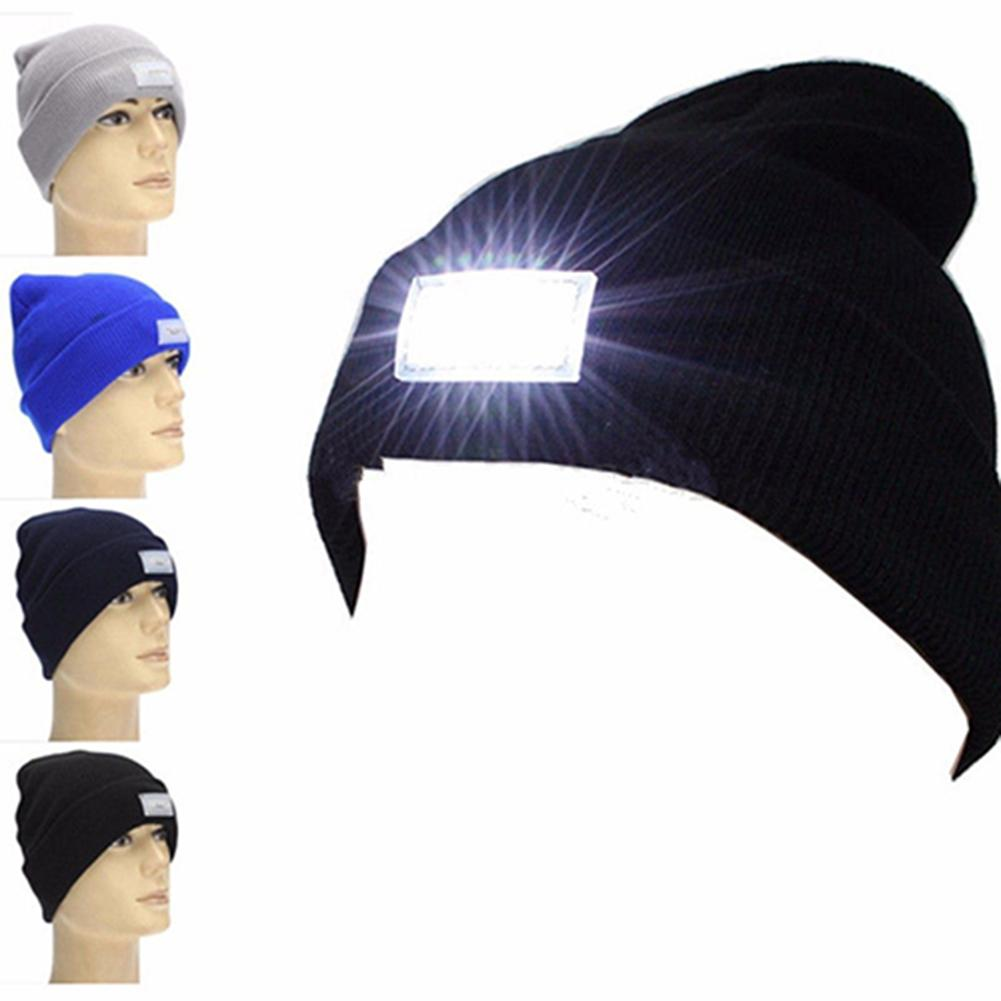 Fashion 5 LED Light Unisex Outdoor Winter Warm Hunting Camping Beanie Hat Cap