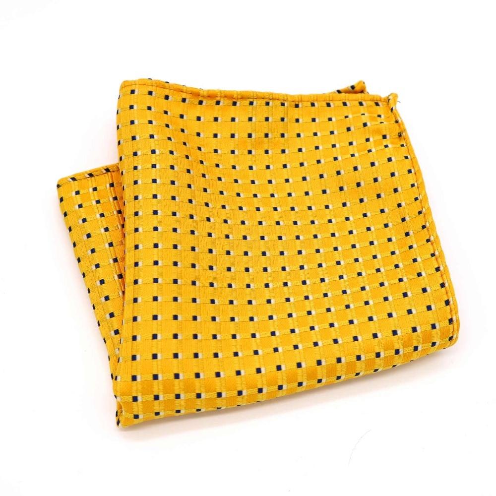 F215 Classic Men's Silk Handkerchief Hanky Jacquard Woven Yellow Black Polka Dot Pocket Square 25*25cm Wedding Party Chest Towel