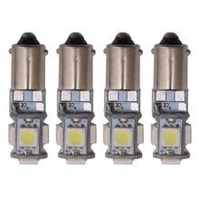 BA9S Canbus 5 smd 5050 Led H6W T11 T4W, 4 pièces, lampe phare de porte, lampe blanche, sans erreur, marqueur, ampoule 12V