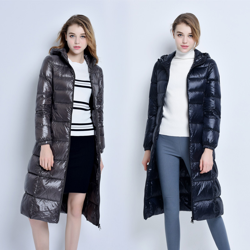 Women Winter Down Jacket Long Down Coat Female Fashion Jacket Hooded Warm Clothes Thick Slim Jackets Ladies Clothes W1105
