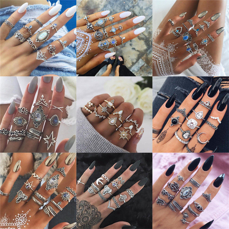 40 Styles Bohemian Midi Knuckle Ring Set For Women crystal Elephant Crown crescent Geometric Finger Rings Vintage Jewelry