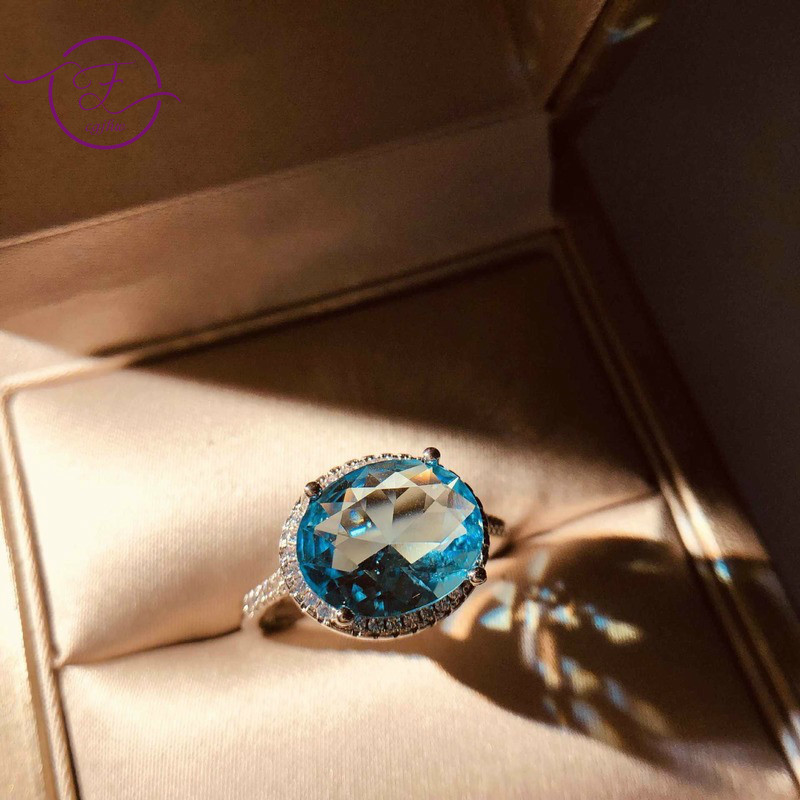 Romantic Created Aquamarine Blue Zircon Ring Silver Ring For Women Wedding Anniversary Fine Jewelry Finger Ring