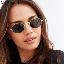 MOUGOL2019 new Europe and America retro oval sunglasses ladies bright street beat metal glasses UV400