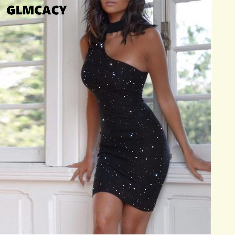 Women Glitter Choker Sleeveless Cut Out Bodycon Dress Sexy Black Club Party Dress Evening Shining Mini Dresses