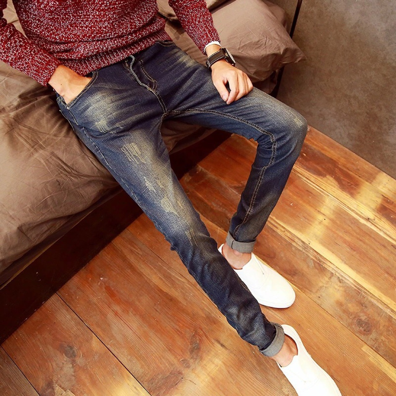 2018 Spring South Korea Retro With Holes Cat Whisker Jeans Men Casual Slim Fit Korean-style Skinny Pencil Pants Fashion
