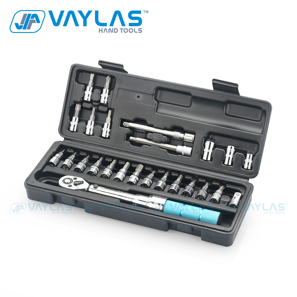 VAYLAS 1 4inch Drive 2-14NM Preset Adjustable Torque Wrench with Case Repair Hand Tools Kit 25 pcs Set