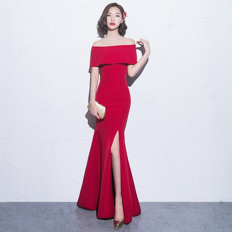 Sexy Split One Shoulder Cheongsam Fishtail Chinese Dresses Red Wedding Party Dress 2020 New Full Length Qipao Robe De Soiree