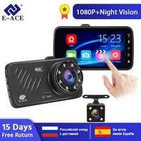 E-ACE Car Dvr 4.0 Inch Touch Dash Cam FHD 1080P Video Recorder Dual Lens Mini Dashcam with Rear View Camera Auto Registrar Dvrs