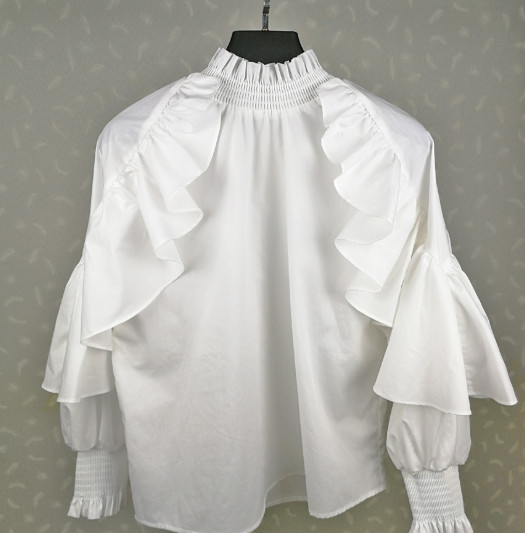 White Women Blouse Ruffle Sleeve ladies Shirt Stand Collar Loose Blouses and Tops female clothes