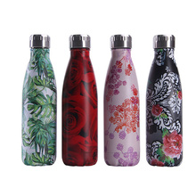 Floral Water Bottle BPA Free Stainless Steel Water+Bottles Insulated Thermos Leaf Rose Flask Gym Drink Cup Coffee Mug