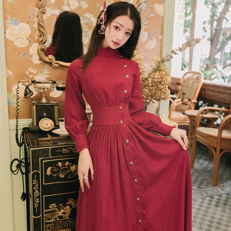 Trytree 2020 Autumn Winter Casual Women's Dress Corduroy Stand Collar Side Buttons Puff Sleeve Ankle-Length A-line Vintage Dress 7