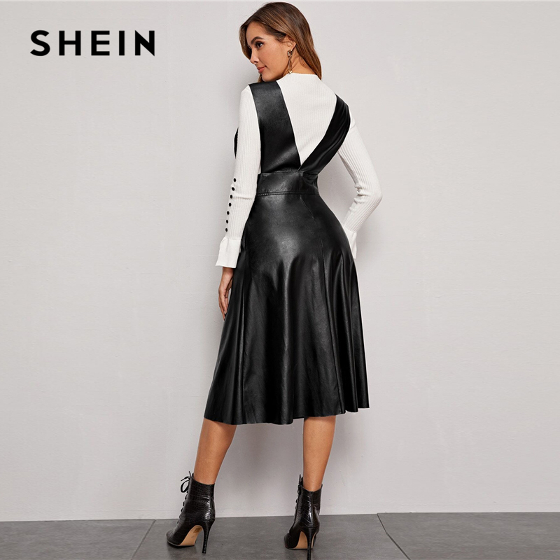 SHEIN Plunging Neck Button Front PU Overall Dress Women Spring High Waist Sleeveless Fit and Flare Pinafore Elegant Long Dresses 2