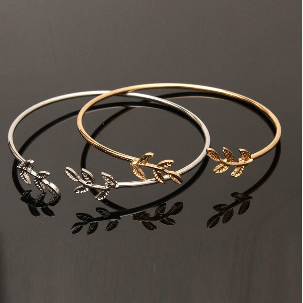 Bracelets Women Stylish Leaves Cuff Women Bracelet Delicate Leaf Open Bangle Bracelet Pulseira Feminina Браслет