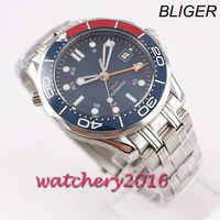 41 Millimetri Sterile Quadrante Blu Gmt Vetro Zaffiro Data Meccanico Automatico Mens Watch