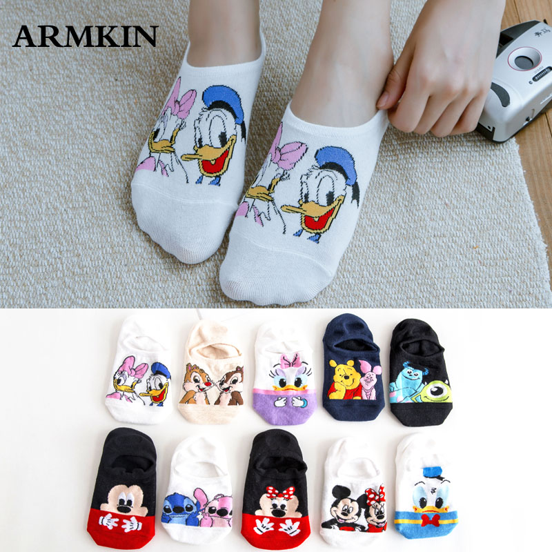 8 Pairs/lot Korea Style Women Socks Kawaii Cute Cartoon Socks  Mouse Duck Fox Animal Ankle Socks Cotton Invisible Socks