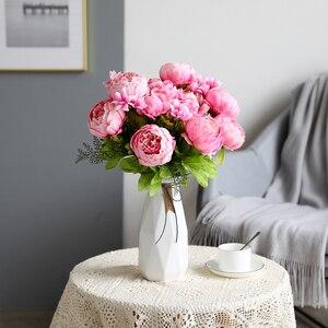 Image 5 - Flores artificiales Luyue, guirnalda de peonías Estilo Vintage europeo para boda, flores artificiales de seda, 13 ramas para decoración de fiesta en casa