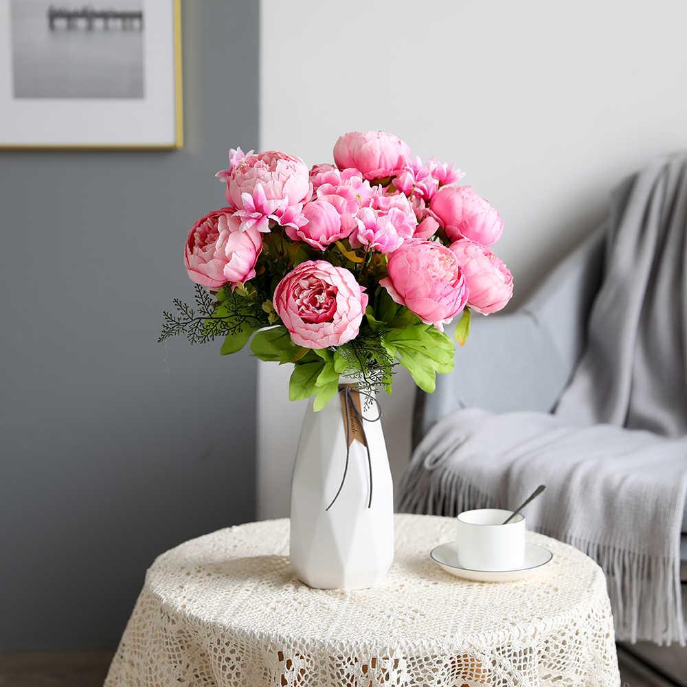 Luyue الزهور الاصطناعية الزفاف خمر الأوروبية الفاوانيا إكليل الحرير وهمية الزهور رؤساء المنزل مهرجان الديكور 13 فروع