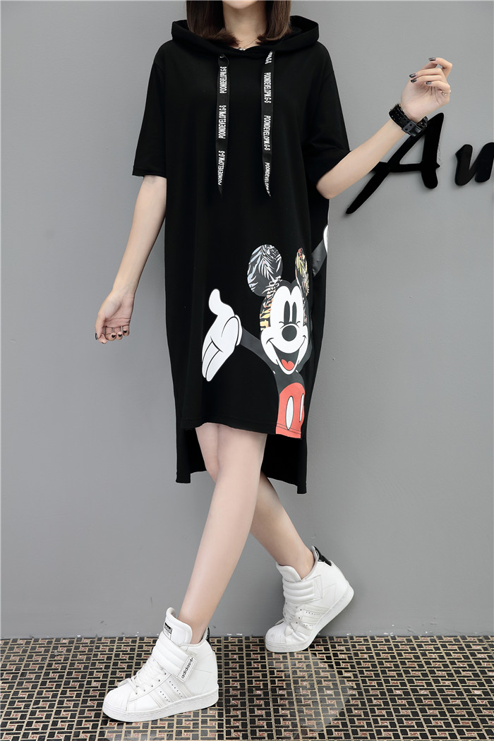 H8a6d5598744c459c8a92d94395b1ba2bQ - New Runway short sleeve Hooded Sweatshirt dress casual mickey cartoon printed women femme oversize dresses vestidos