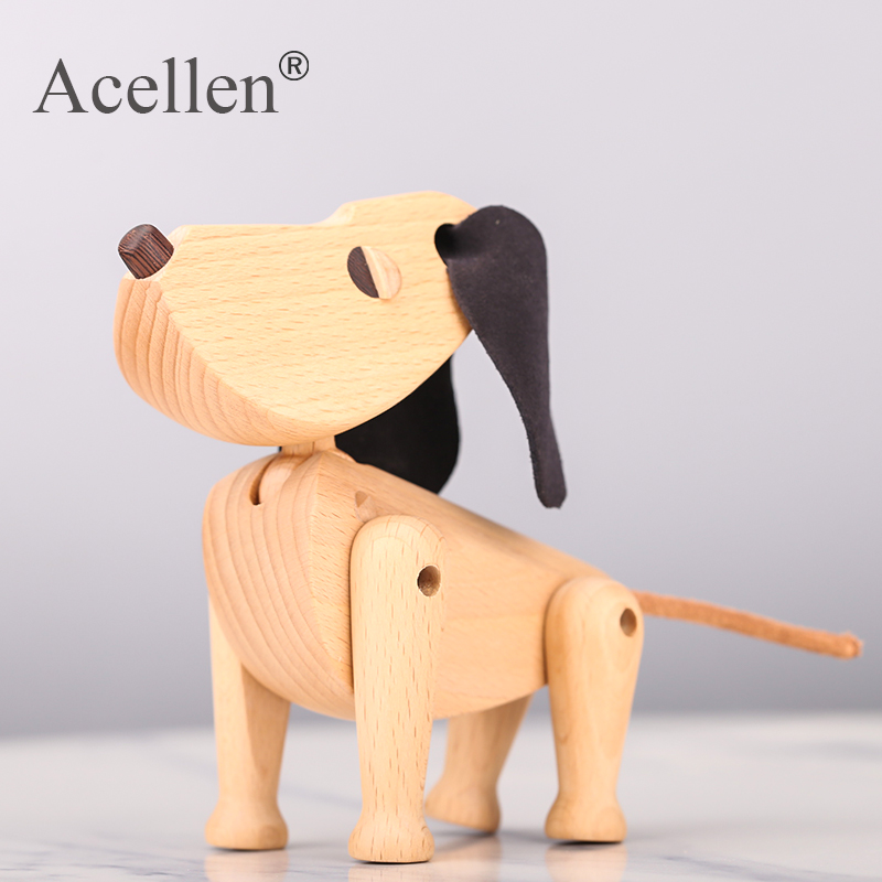 Nordic Wooden Dog Handmade Figures Walnut Denmark Lovely Puppy Toys Home Decoration Doggy Tabletop Ornament Kids Toys and Gifts