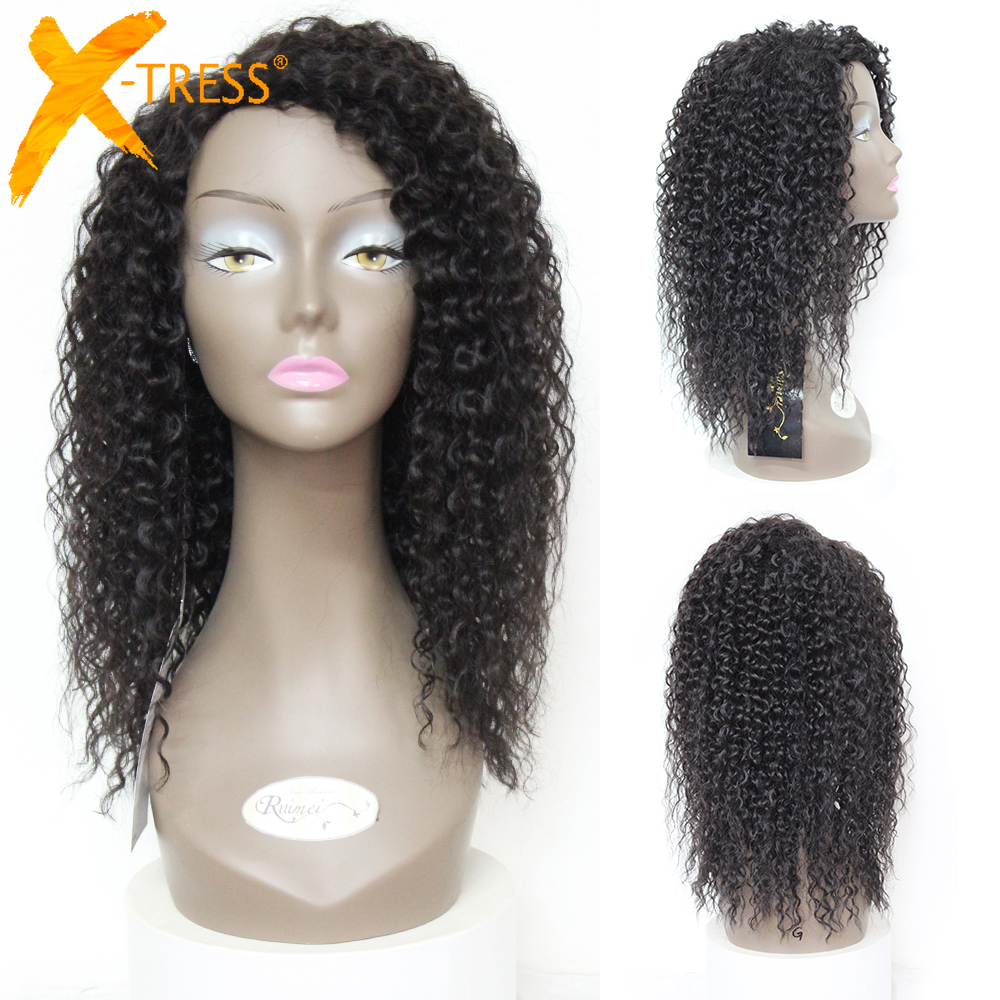 X-TRESS Kinky Curly Synthetic Mixed 30% Human Hair Wigs Machine Made Hair Wig For Black Women 18 Inches Heat Resistant Fiber Wig