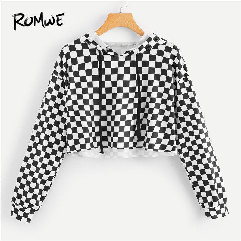 ROMWE Women Hoodies Sweatshirt Gingham Drawstring Crop Hoodie Tee Womens Pullover Tracksuits Plaid Tops  Spring Sweatshirts