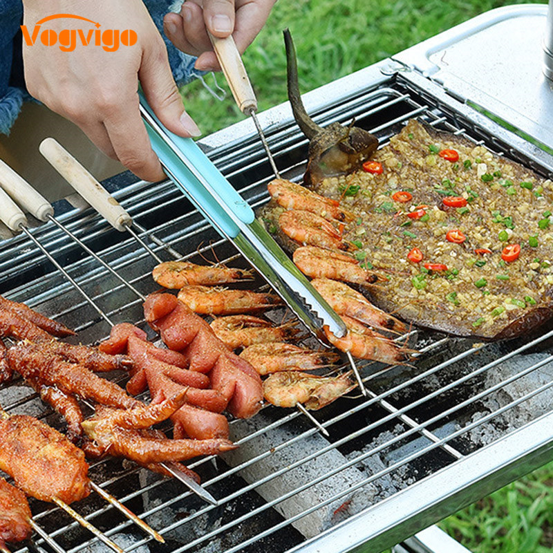 TTLIFE Stainless Steel Kitchen Tongs BBQ Tongs Mini Barbecue Grill Food Clip Ice Tongs Meat Salad Toast Tongs Clamp Accessories in Tongs from Home Garden