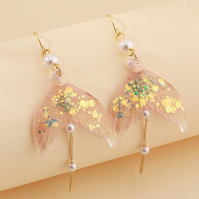 Fee Glitter Mermaid Schwanz Ohrringe für Frauen Klar Harz Simulierte Perle Lange Hängen Baumeln Ohrringe Erklärung Schmuck