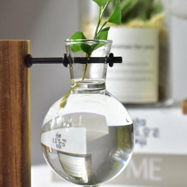1Set Glass Vase Home Garden Glass Hydroponic Container Table Desktop Transparent Glass Bulb Vase Flower Pot Home Decor 1