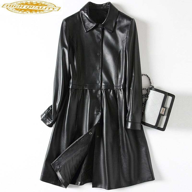 Spring Real Leather Jacket Women Long Sheepskin Coat Korean Luxury Genuine Leather Jackets 2020 Autumn Veste Femme KJ1898