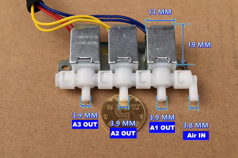 DC 12V 3-Way Normally Closed Type Micro Mini Electric Solenoid Valve Air Flow Control Valve Gas Distributor For Massager DIY