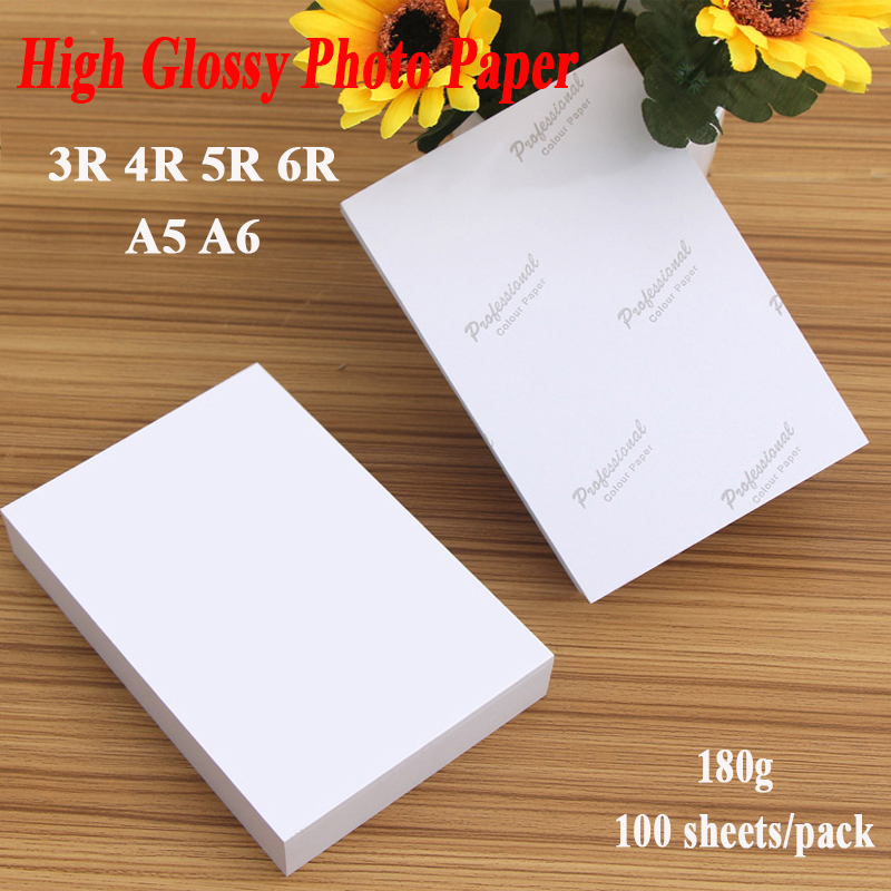 Photo Paper 3R 4R 5R 6R A5 A6 100 Sheets 180g For Inkjet Printer High Glossy Photographic Coated Printing Paper