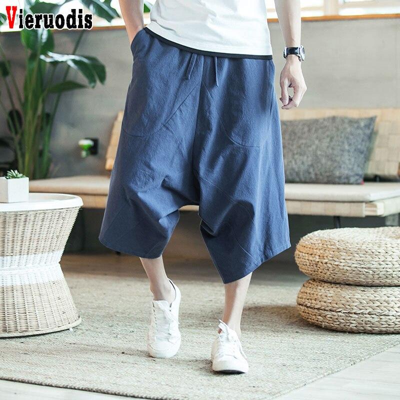 Men Harajuku Harem Pants 5XL Male Wild-leg Loose Drawstring Wide-legged Bloomers Chinese Style Flaxen Baggy Loose Large Trousers