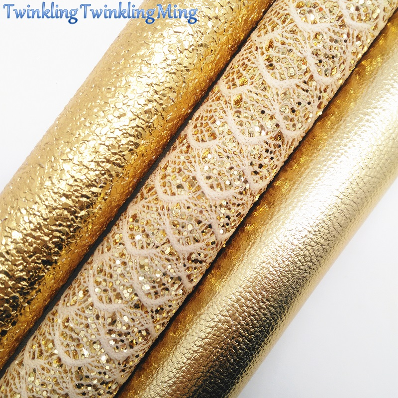 Золотой кружевной Блестящий тканевый материал, ткань из искусственной кожи личи, простыни из синтетической кожи для банта A4 8x11 дюймов мерца...