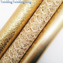 Ouro laço glitter fabirc, tela de couro do falso litchi, folhas de tecido de couro sintético para arco a4 8