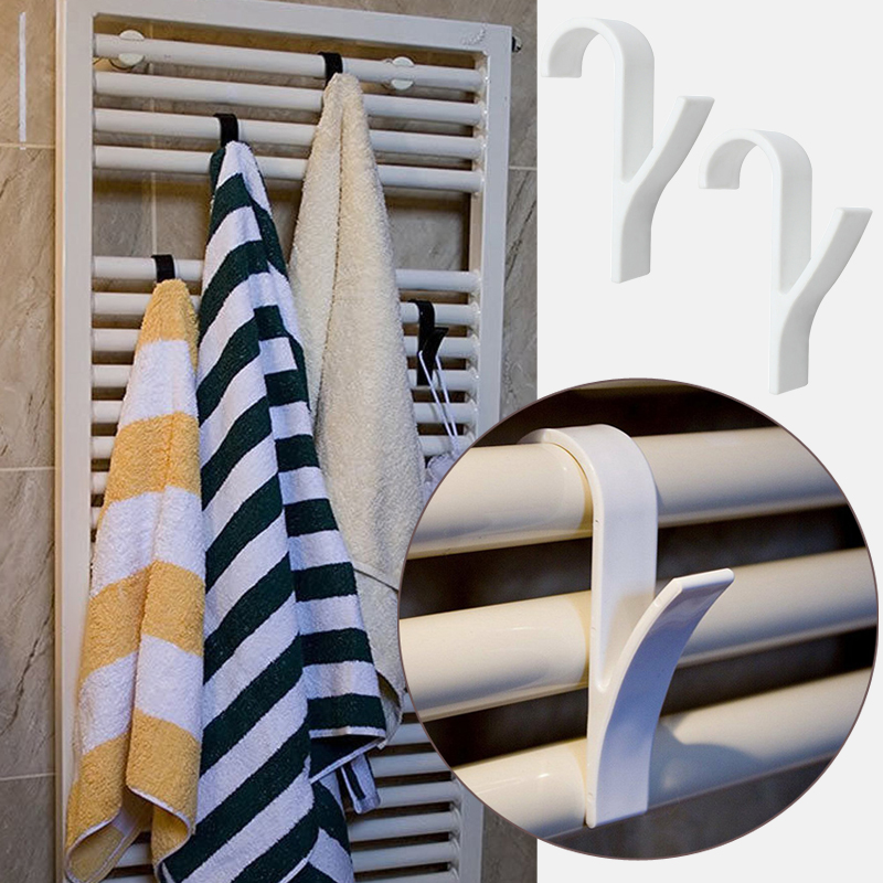 High Quality Hanger For Heated Towel Radiator Rail Bath Hook Holder Clothes Hanger Percha Plegable Scarf Hanger White 6pcs(China)