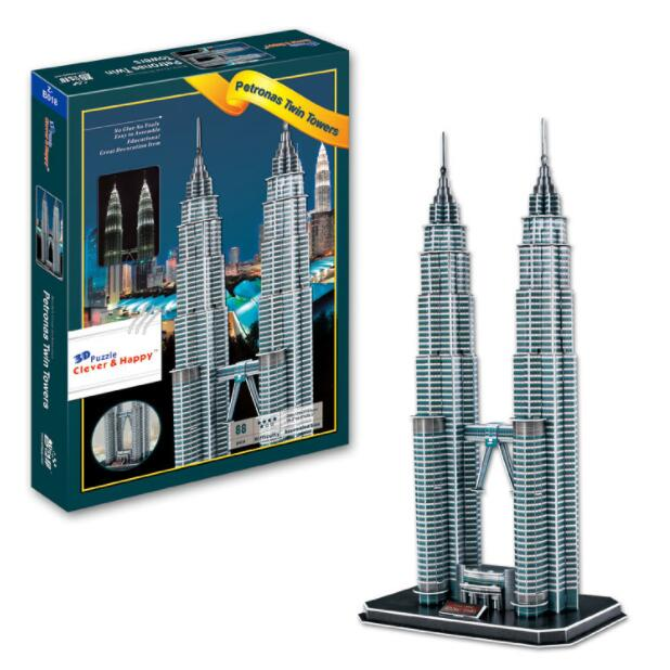 Malaysia Petronas Twin Tower Architect Learning 3D Paper DIY Jigsaw 3434 Puzzle Model Educational Toy Kits Children Boy Gift Toy