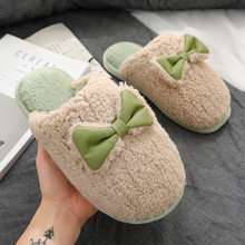 FZNYL Women Men Winter Slippers Home Slippers Bow-knot Non-slip Warm Indoors Bedroom Floor Shoes slippers chaussures femme 35-44(China)