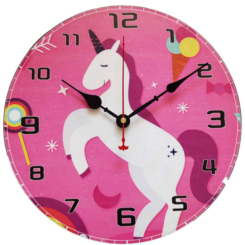 Unicorn Retro Wooden Wall Clock-12inch Quartz Silent Large Vintage Rustic Shabby Colorful Non -Ticking Quiet Kitchen Bedroom