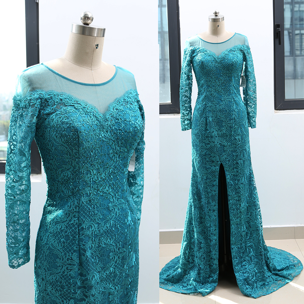 MACloth Teal Sheath O Neck Floor-Length Long Crystal Lace   Prom     Dresses     Dress   M 264100 Clearance