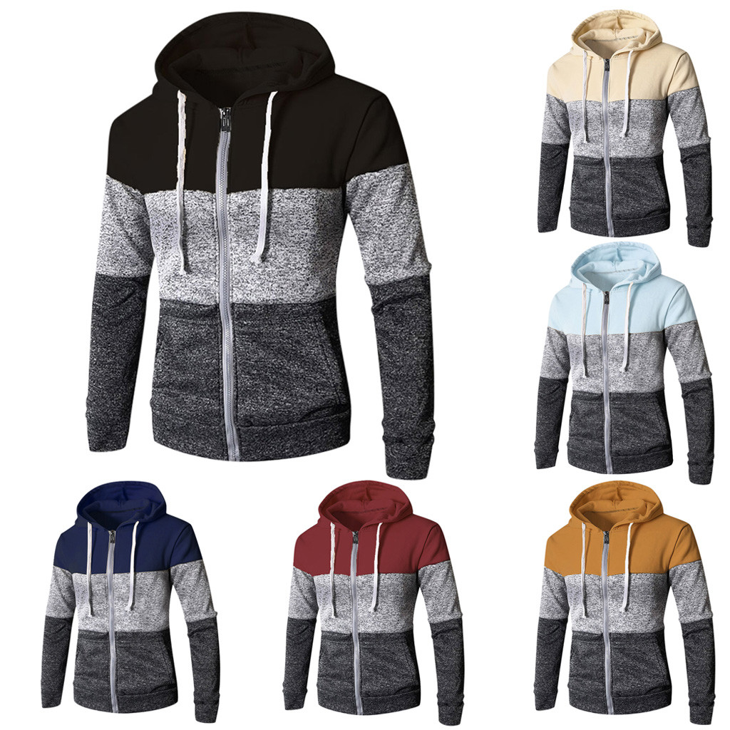 Top Hoodies Blouse Patchwork Long-Sleeve Autumn Winter Mens Pocket New-Fashion New-Fashion