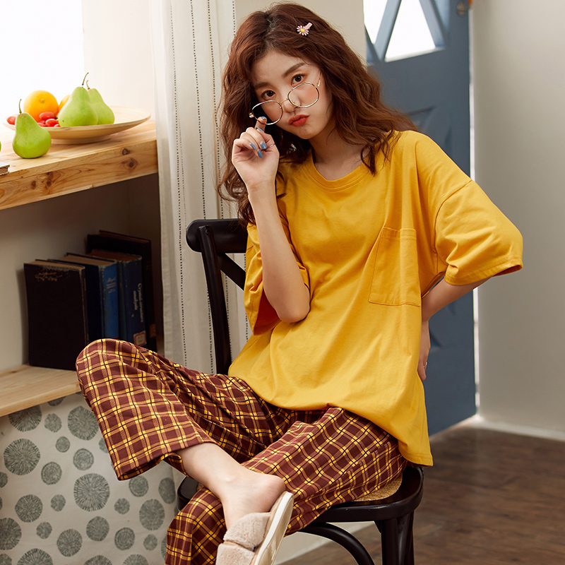 New Sleepwear Pajamas For Women Sexy Summer Homewear Short Sleeve Women 2 Pieces Korean Loose Cotton Pijama Pjs Pyjama Set 2020
