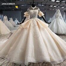 HTL1061 vestidos de boda árabe ilusión de Dubái encaje de lentejuelas manga corta vestido de boda de talla grande vestido de novia princesa