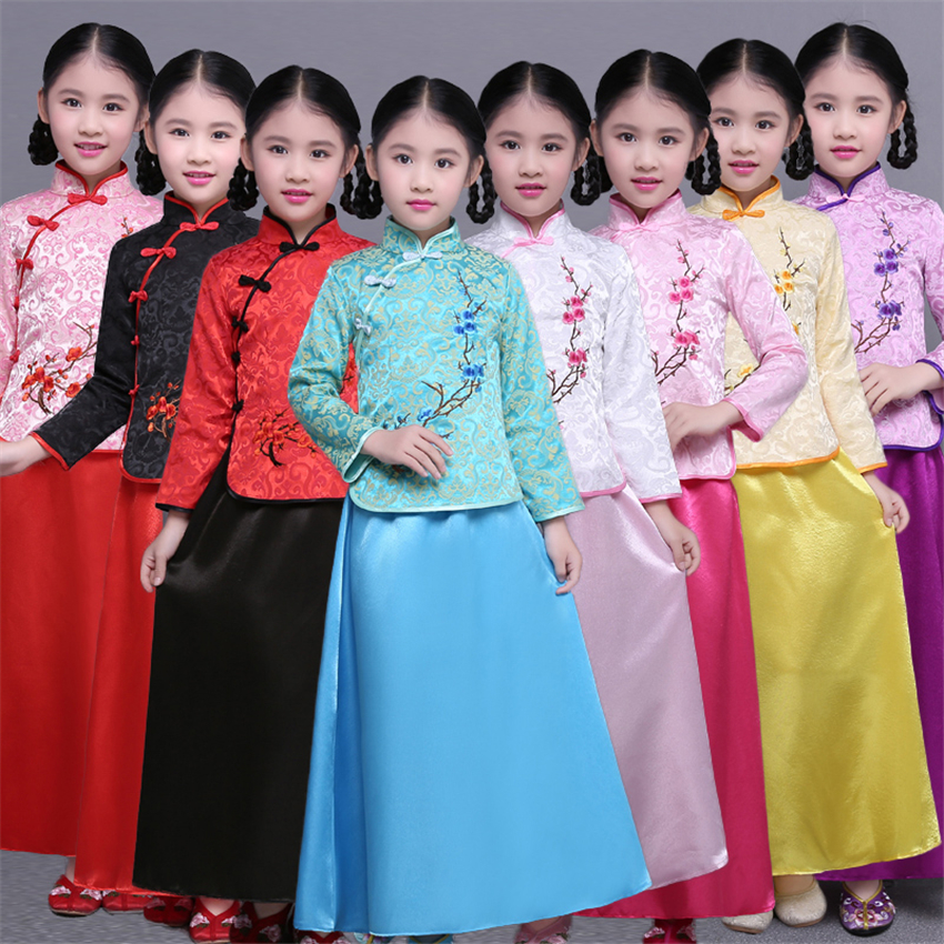 8Color New Chinese Traditional Dress For Girls Cheongsam Qipao Tang Suit 2020 Silk Satin Long Sleeve Children Chinese Clothing